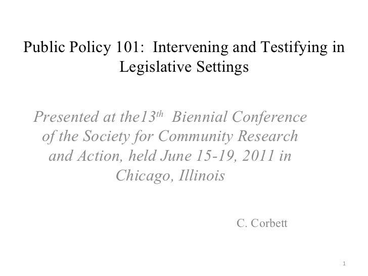 Public Policy 101:  Intervening and Testifying in Legislative Settings