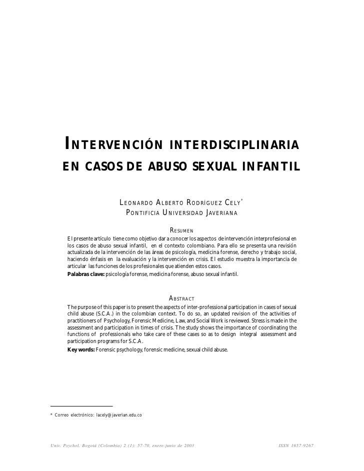 INTERVENCIÓN INTERDISCIPLINARIA     EN CASOS DE ABUSO SEXUAL INFANTIL                                 LEONARDO ALBERTO ROD...
