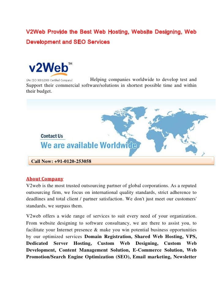 V2Web Provide the Best Web Hosting, Website Designing, WebDevelopment and SEO Services                             Helping...
