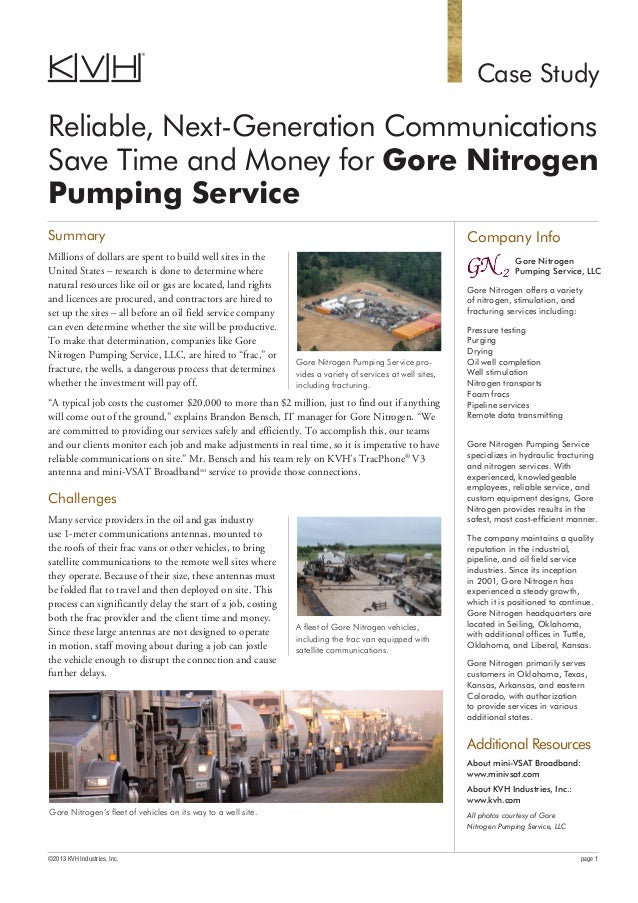Case Study Reliable, Next-Generation Communications Save Time and Money for Gore Nitrogen Pumping Service Company Info Gor...