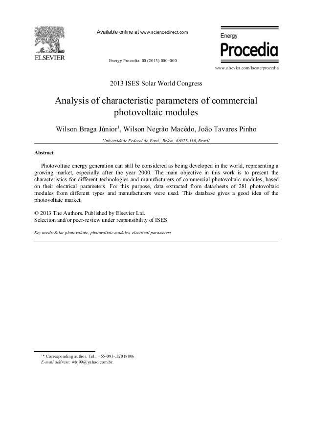 147 analysis of characteristic parameters of commercial photovoltaic modules
