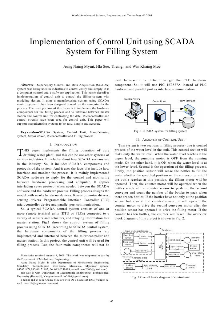World Academy of Science, Engineering and Technology 46 2008         Implementation of Control Unit using SCADA           ...