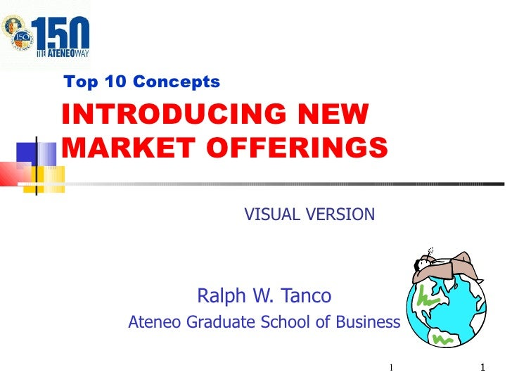 INTRODUCING NEW MARKET OFFERINGS Ralph W. Tanco Ateneo Graduate School of Business Top 10 Concepts VISUAL VERSION