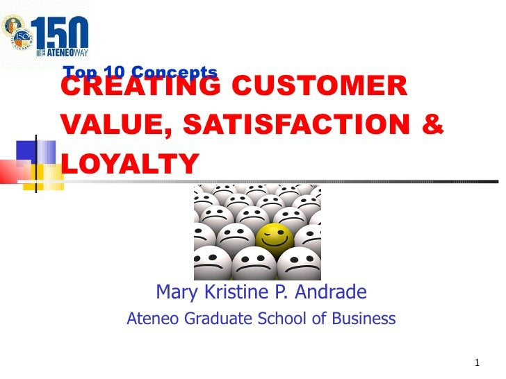 CREATING CUSTOMER VALUE, SATISFACTION & LOYALTY Mary Kristine P. Andrade Ateneo Graduate School of Business Top 10 Concepts