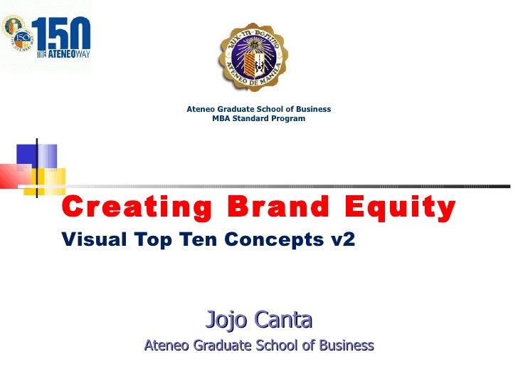 Creating Brand Equity Visual Top Ten Concepts v2 Jojo Canta Ateneo Graduate School of Business Ateneo Graduate School of B...