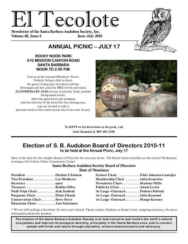 El TecoloteNewsletter of the Santa Barbara Audubon Society, Inc. Volume 48, Issue 6 June–July 2010 The mission of the ...