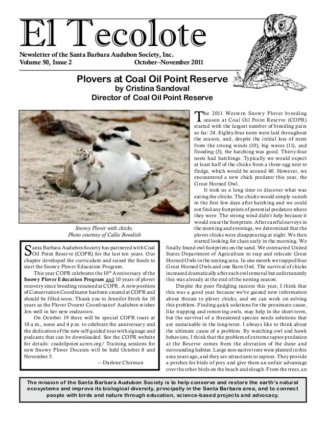 El TecoloteNewsletter of the Santa Barbara Audubon Society, Inc. Volume 50, Issue 2				 October–November 2011 The mission ...