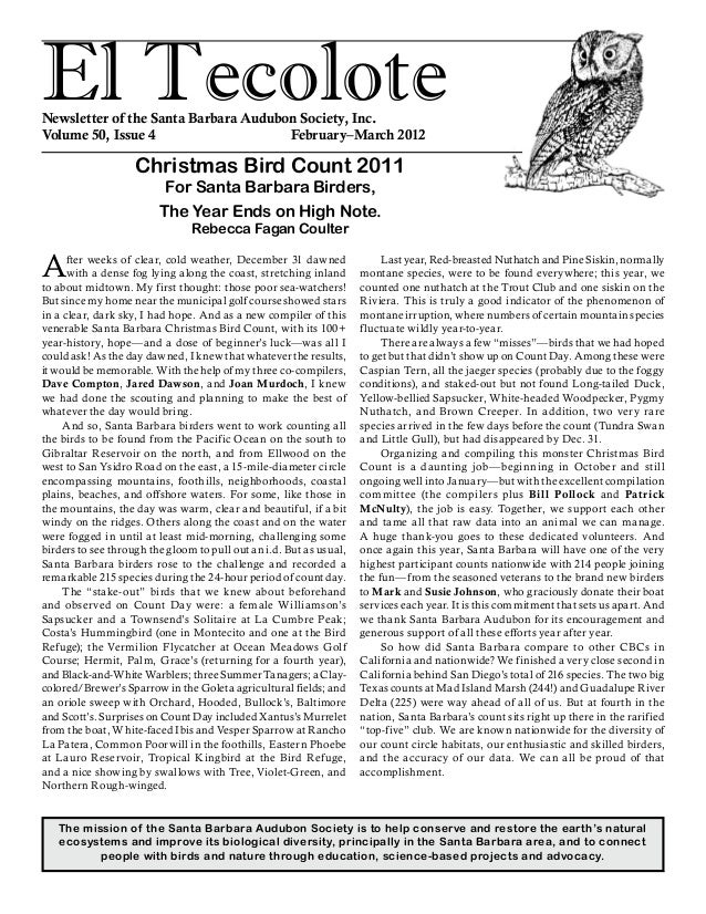El TecoloteNewsletter of the Santa Barbara Audubon Society, Inc. Volume 50, Issue 4				 February–March 2012 The mission of...