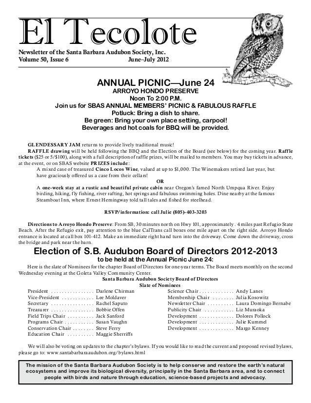 El TecoloteNewsletter of the Santa Barbara Audubon Society, Inc. Volume 50, Issue 6				 June–July 2012 The mission of the ...