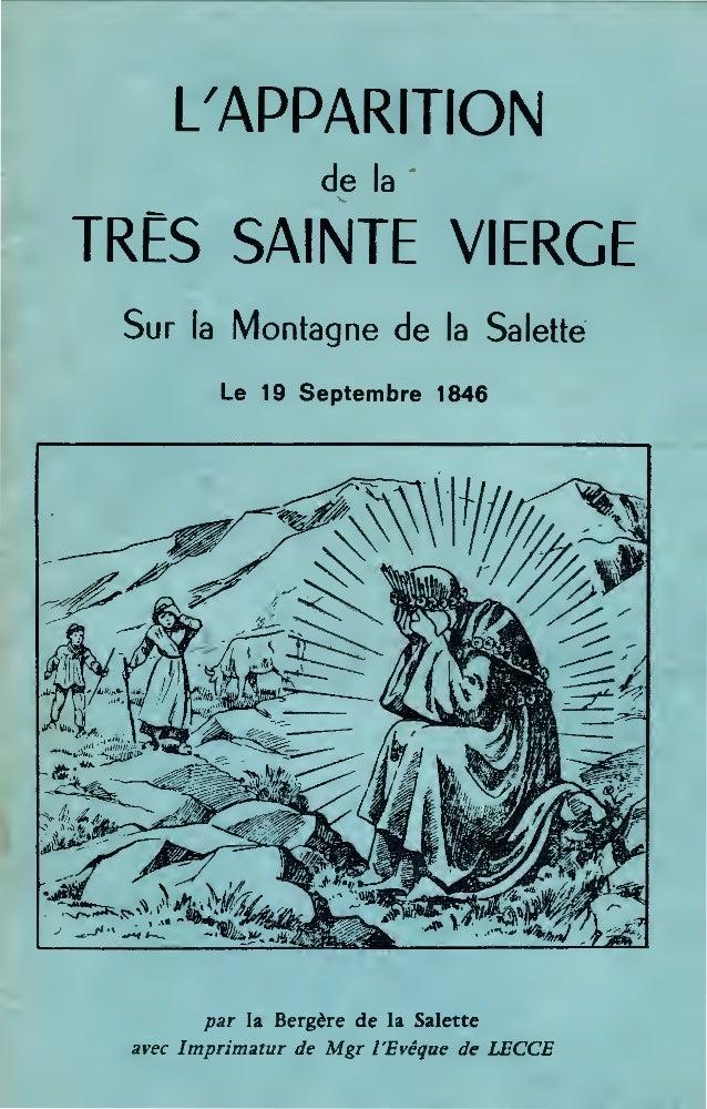 L/APPARITION de la ' TRES SAINTE VIERGE Sur la Montagne de la Salette le 19 Septembre 1846 par la Bergère de la Salette av...