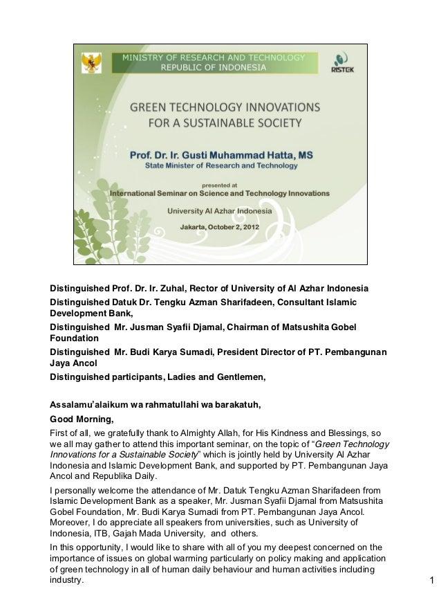 Al Azhar - International Seminar on Science, Technology and Innovations