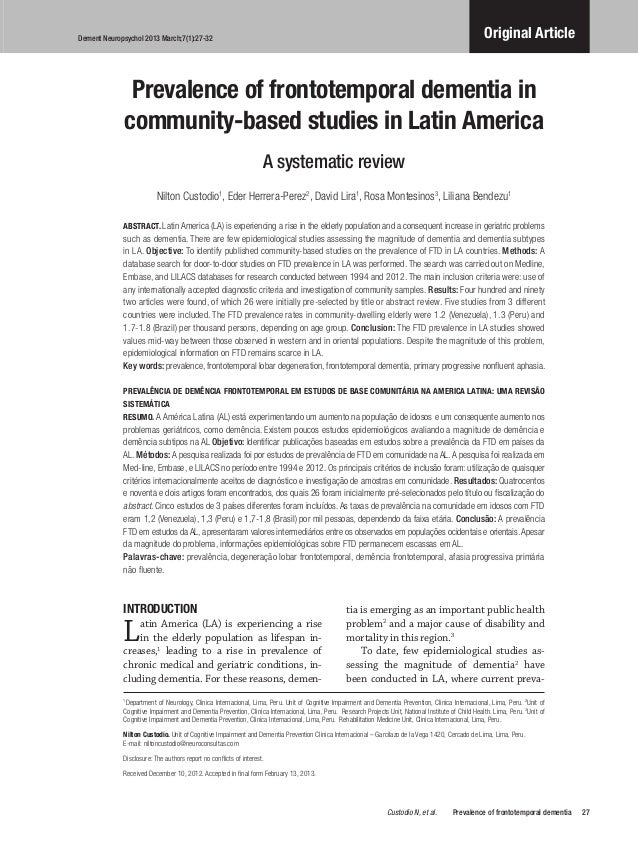 PREVALENCE OF FRONTOTEMPORAL DEMENTIA IN COMMUNITY-BASED STUDIES IN LATIN AMERICA: A SYSTEMATIC REVIEW