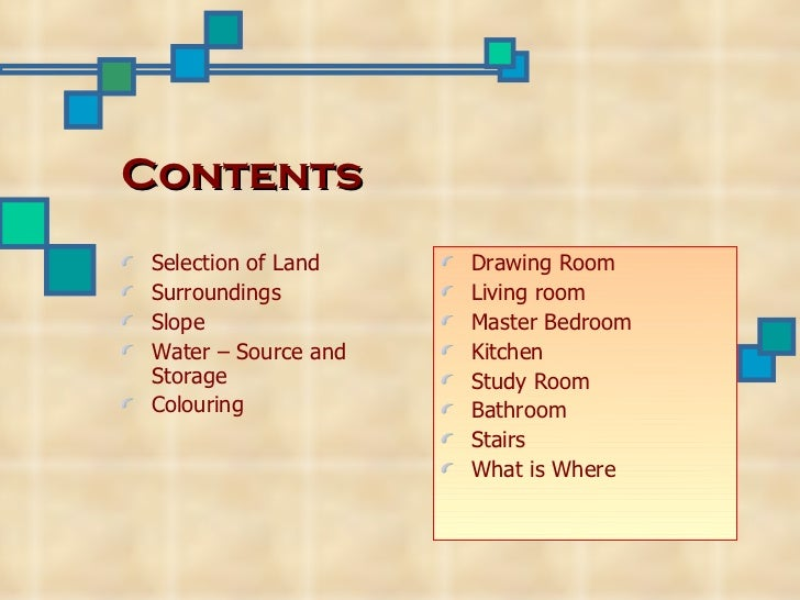 Contents Selection of Land    Drawing Room Surroundings         Living room Slope                Master Bedroom Water – So...