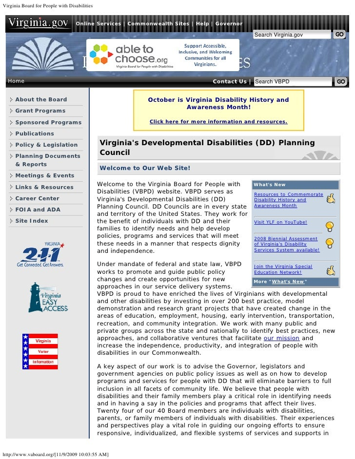 Virginia Board for People with Disabilities                                     Online Services | Commonwealth Sites | Hel...