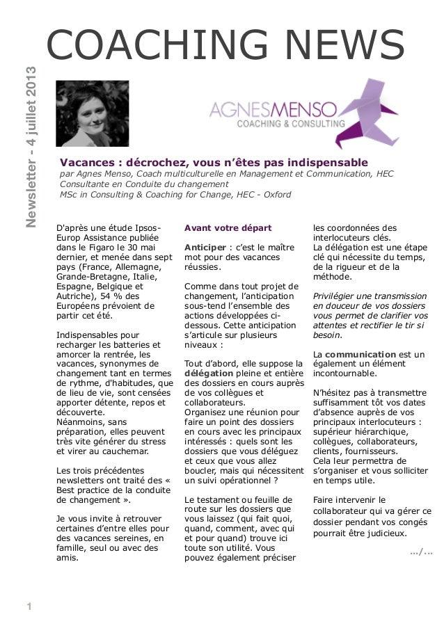 1 Vacances : décrochez, vous n'êtes pas indispensable par Agnes Menso, Coach multiculturelle en Management et Communicatio...