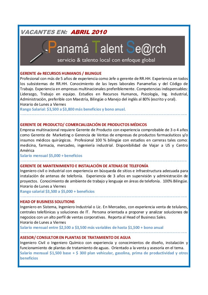 VACANTES EN: ABRIL 2010     GERENTE de RECURSOS HUMANOS / BILINGUE Profesional con más de 5 años de experiencia como Jefe ...