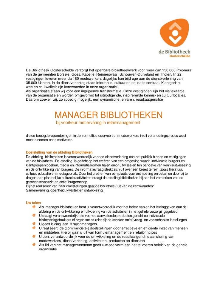 Vacature manager bibliotheken Bibliotheek Oosterschelde