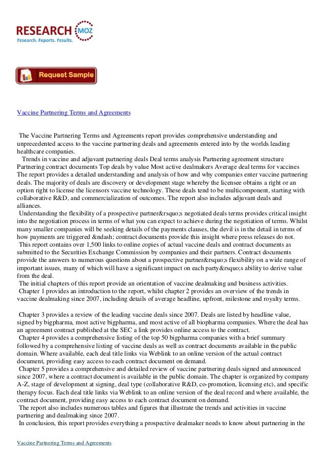 Vaccine Partnering Terms and Agreements The Vaccine Partnering Terms and Agreements report provides comprehensive understa...