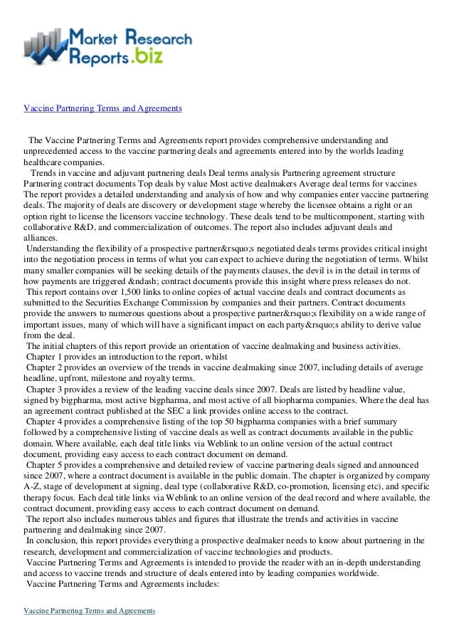 Latest Report: Vaccine partnering terms and agreements