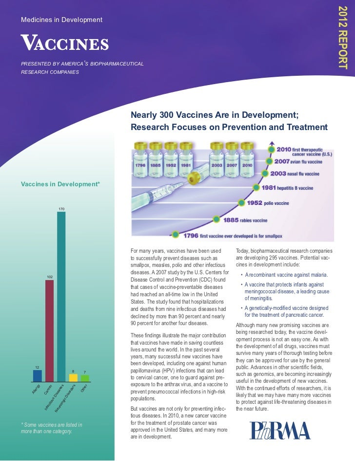 PhRMA Report 2012: Vaccines in Development