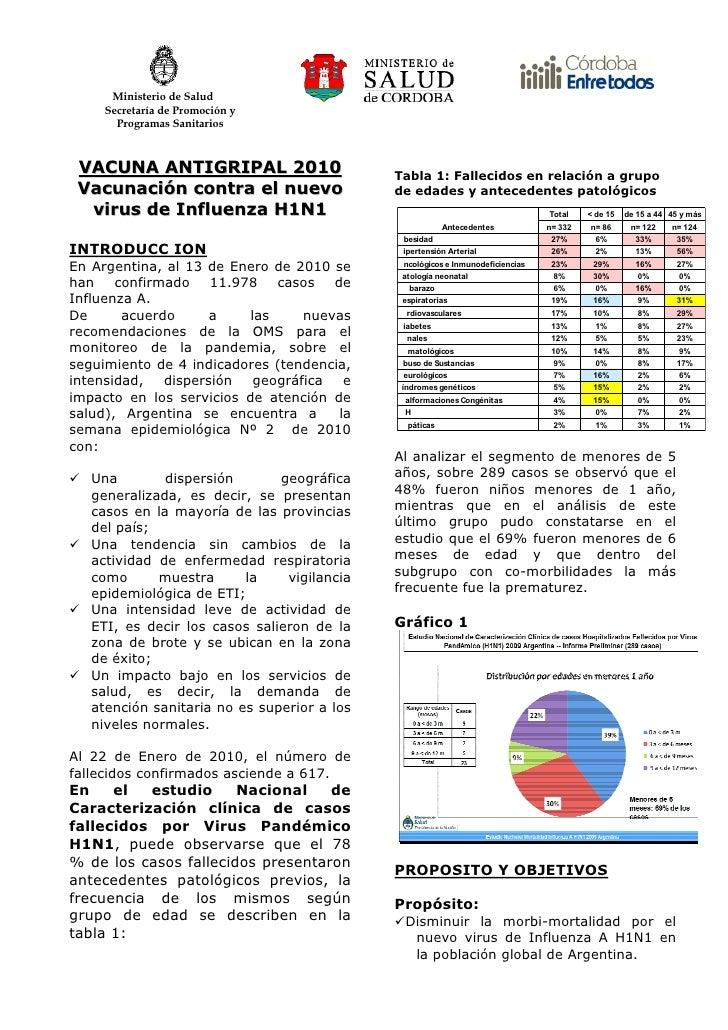 Ministerio de Salud      Secretaría de Promoción y        Programas Sanitarios     VACUNA ANTIGRIPAL 2010                 ...
