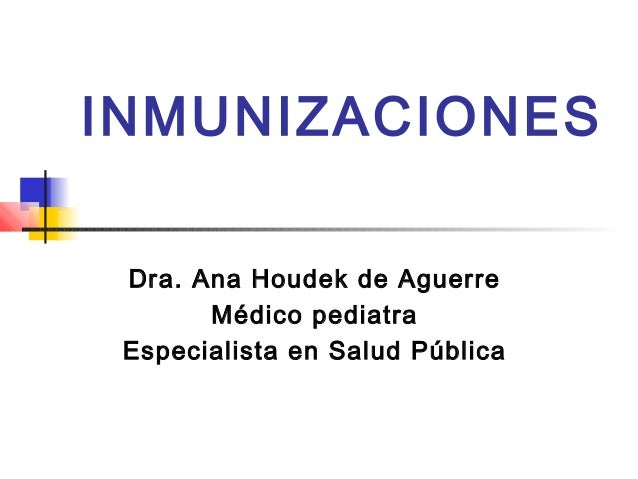 INMUNIZACIONES Dra. Ana Houdek de Aguerre Médico pediatra Especialista en Salud Pública
