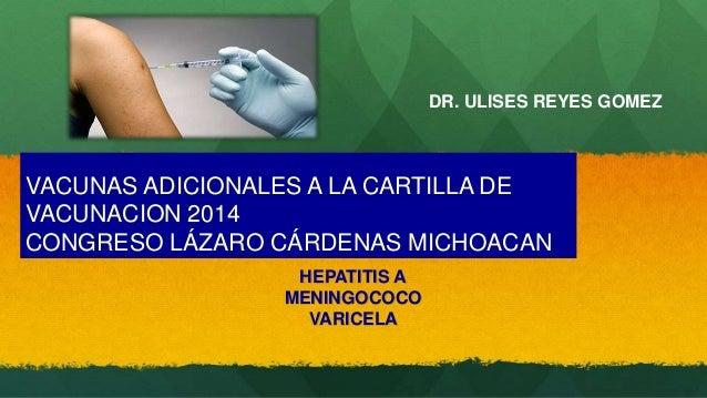 VACUNAS ADICIONALES A LA CARTILLA DE  VACUNACION 2014  CONGRESO LÁZARO CÁRDENAS MICHOACAN  HEPATITIS A  MENINGOCOCO  VARIC...