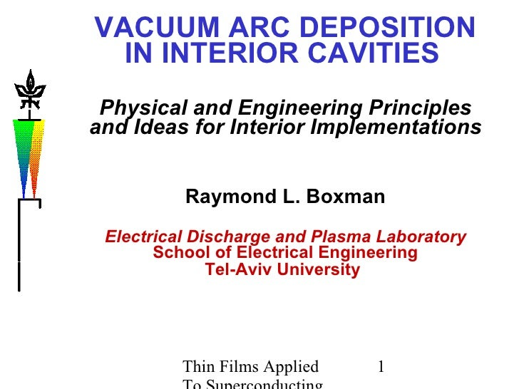 VACUUM ARC DEPOSITION IN INTERIOR CAVITIES   Physical and Engineering Principles and Ideas for Interior Implementations Ra...
