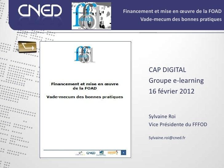 Financement et mise en œuvre de la FOAD       Vade-mecum des bonnes pratiques          CAP DIGITAL          Groupe e-learn...