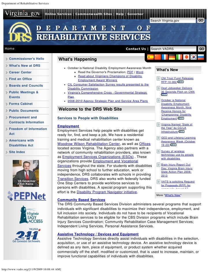 Department of Rehabilitative Services                                 Online Services | Commonwealth Sites | Help | Govern...
