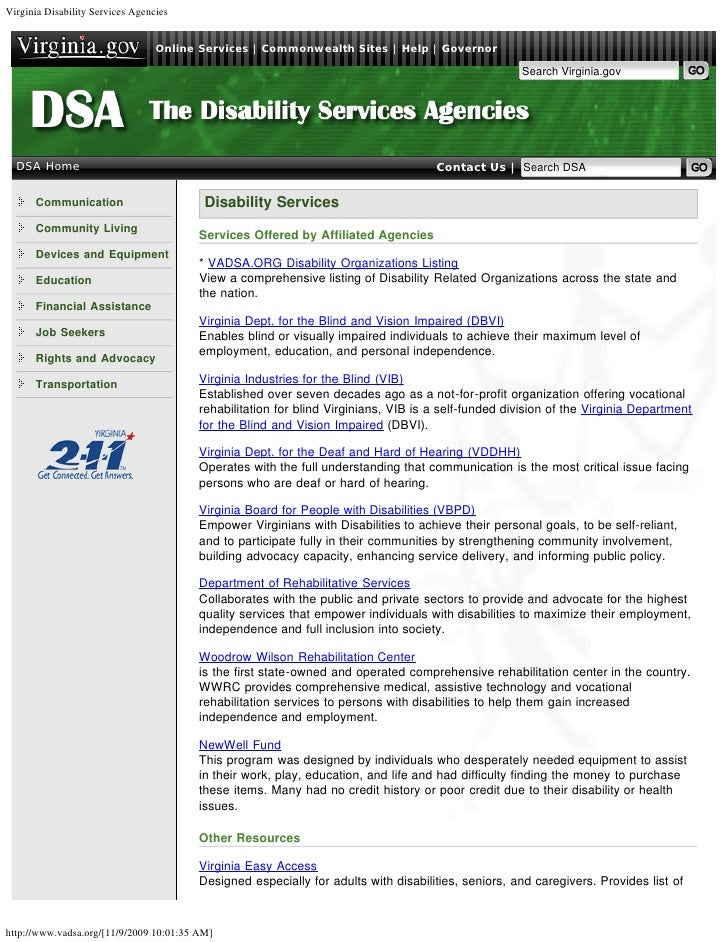 Virginia Disability Services Agencies                                  Online Services | Commonwealth Sites | Help | Gover...