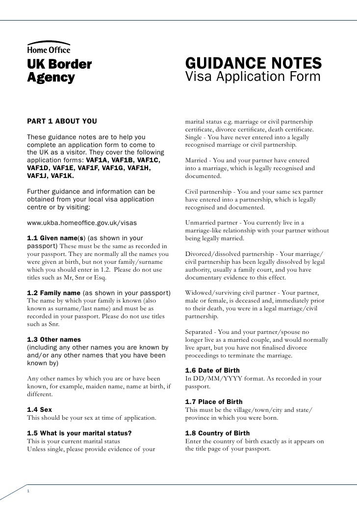 Guidance notes                                                      Visa Application FormPart 1 about You                 ...
