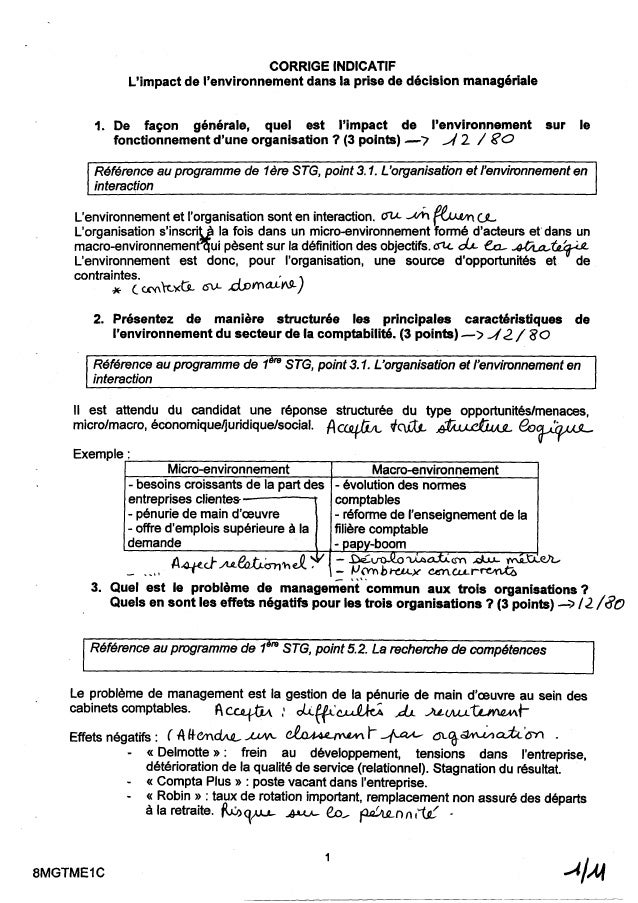 Corrigé du Sujet de BAC en MDO Vag gerone 2008
