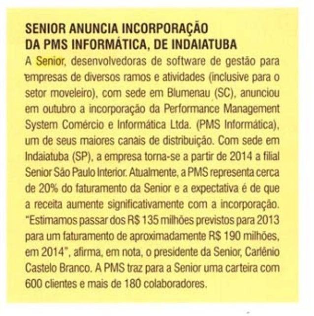 Móbile Fornecedores   Senior anuncia incorporação da PMS informática, de Indaiatuba