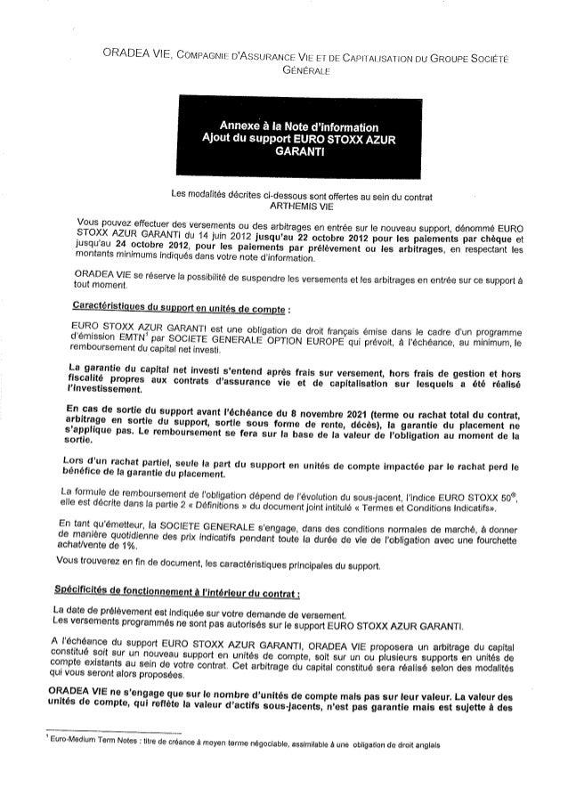 Vaillance courtage euro stoxx azur garanti [annexe2]