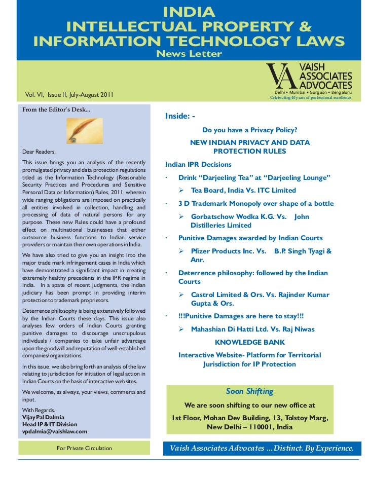 Vaish India IP & IT Laws News Letter  July-August 2011
