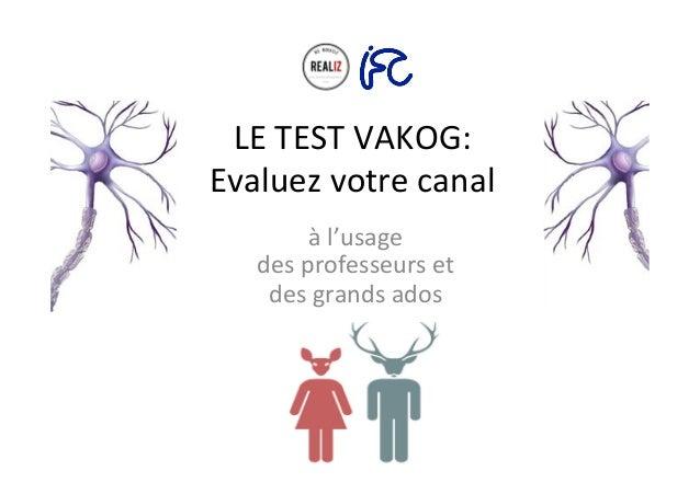 LE  TEST  VAKOG:   Evaluez  votre  canal     à  l'usage     des  professeurs  et     des  gr...