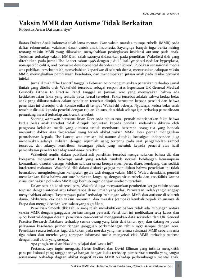 RAD Journal 2012:12:001 Vaksin MMR dan Autisme Tidak Berkaitan, Robertus Arian Datusanantyo   1 Vaksin  MMR  dan  Au...