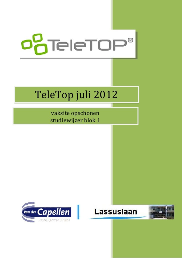 TeleTop juli 2012   vaksite opschonen   studiewijzer blok 1