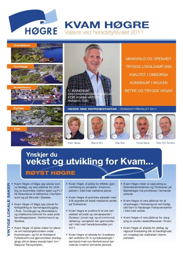 kvam høgre                                                                     Valavis ved heradstyrevalet 2011           ...