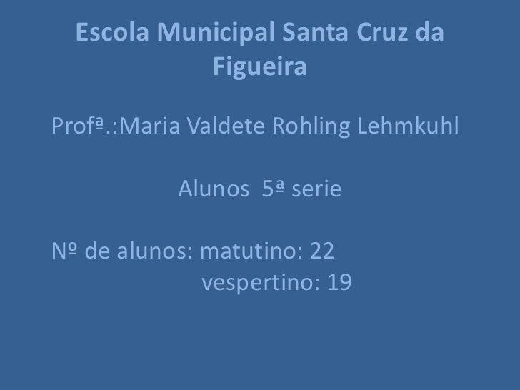 Escola Municipal Santa Cruz da            FigueiraProfª.:Maria Valdete Rohling Lehmkuhl           Alunos 5ª serieNº de alu...