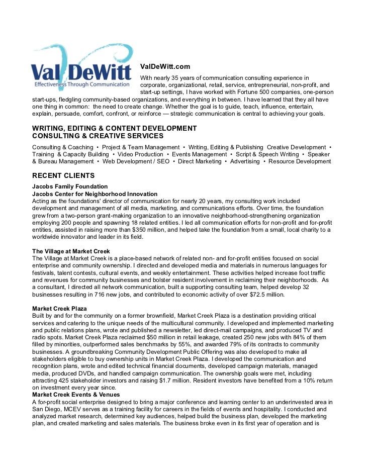 ValDeWitt.com                                          With nearly 35 years of communication consulting experience in     ...