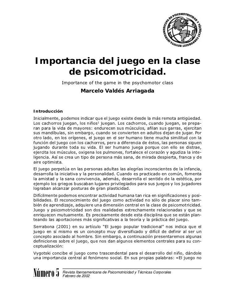 Importancia del juego en la clase      de psicomotricidad.              Importance of the game in the psychomotor class   ...