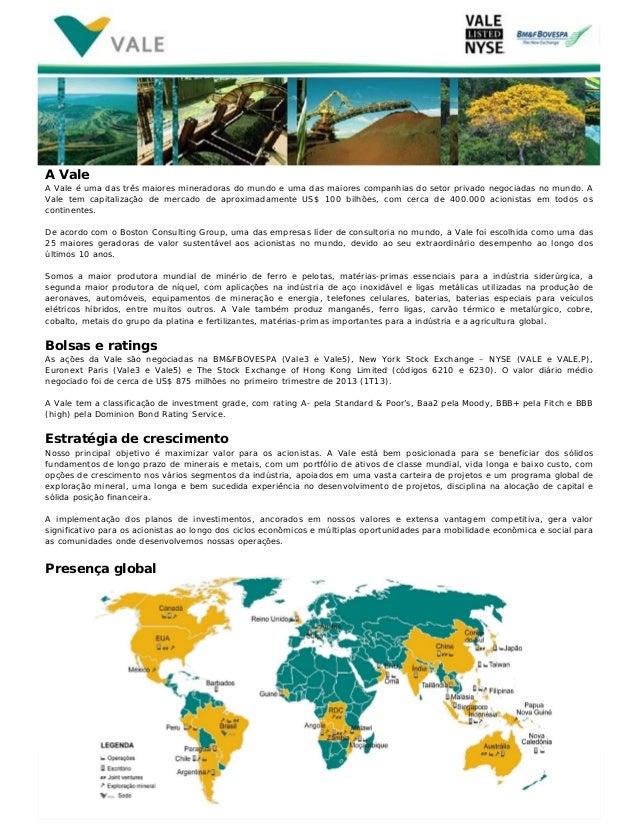www.vale.comA ValeA Vale é uma das três maiores mineradoras do mundo e uma das maiores companhias do setor privado negocia...