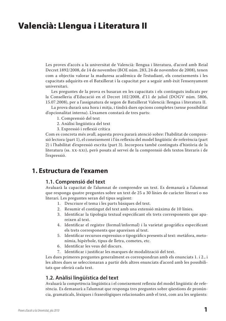 Valencià: Llengua i Literatura II                               Les proves d'accés a la universitat de Valencià: llengua i...