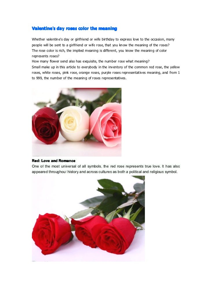 Valentine's day roses color the meaning