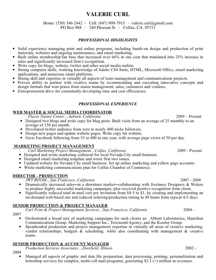 art director resume samples media production manager production - Web Producer Resume