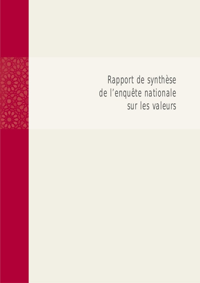Rapport de synthèsede l'enquête nationale        sur les valeurs