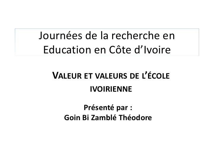 Valeurs de l'éducation
