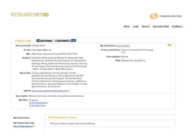 Home  Login  Search  Interactive Map  Valgma, Ingo ResearcherID: D-2444-2009  My Institutions (more details)  E-mail: ingo...
